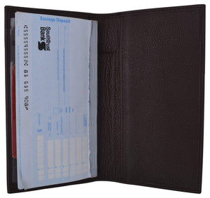 Marshal Clothing, Shoes & Accessories Black Genuine Cow Napa Leather Slim Checkbook Cover With Pen Holder