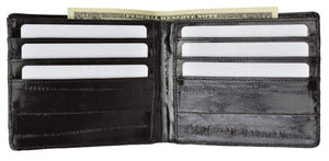 Marshal Clothing, Shoes & Accessories Black Genuine Eel Skin Classic Bi-fold Mens Wallet E 705