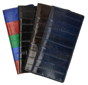 Marshal Clothing, Shoes & Accessories Black Genuine Eel Skin Leather Basic Checkbook Cover E 529