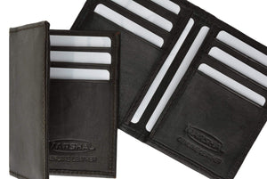 Marshal Clothing, Shoes & Accessories Black Genuine Lamb Leather Bifold Business Card and Credit Card Holder Top Load 68 (C)