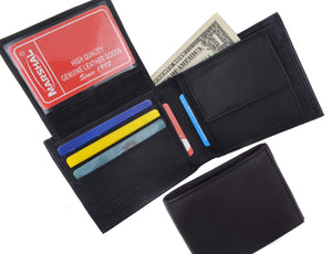 Genuine Lambskin Soft Leather Bifold Credit Card Wallet with Coin Pouch 59 - wallets for men's at mens wallet