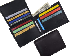 Genuine Lambskin Soft Leather Bifold Credit Card Wallet with ID Flap Up 53 - wallets for men's at mens wallet