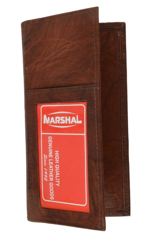 Marshal Clothing, Shoes & Accessories Burgundy Genuine Leather Bifold Checkbook Cover Wallet with Outside Window 256 CF (C)