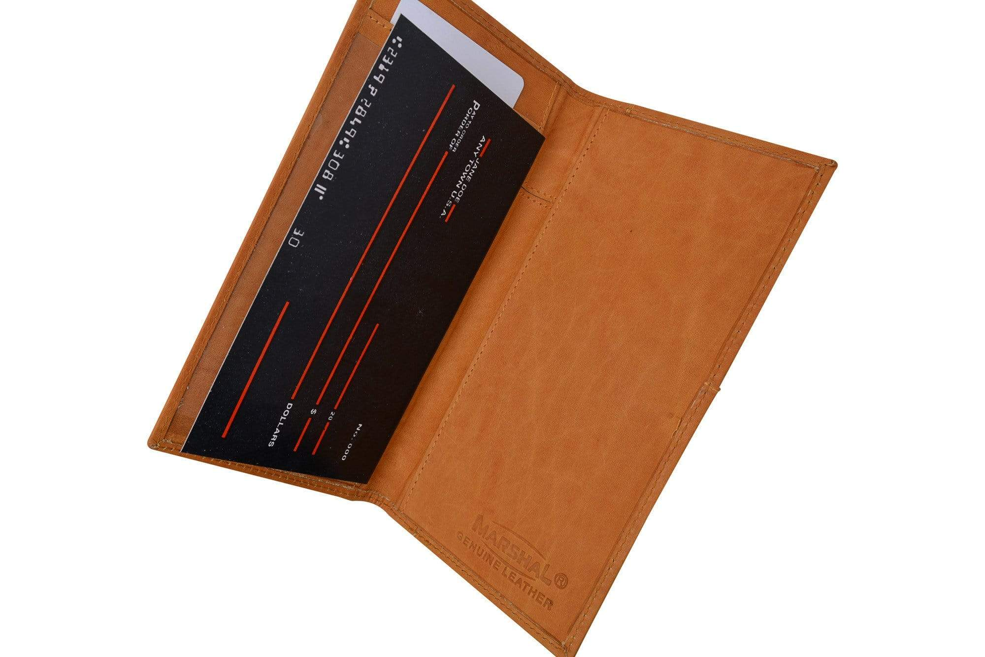 Genuine Leather Bifold Checkbook Cover Organizer Wallet W// Outside ID Window NEW