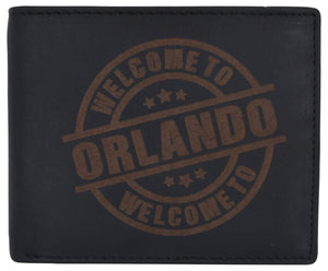 Marshal Clothing, Shoes & Accessories Black Genuine Leather Bifold Welcome to Orlando RFID Men's Wallet