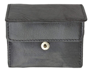 Marshal Clothing, Shoes & Accessories Black Genuine Leather Change Purse with Snap Button Closure 1121 (C)