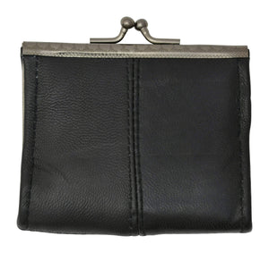Black Genuine Leather Change Purse with Twist Snap Enclosure 928013 (C) - wallets for men's at mens wallet