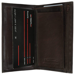 Marshal Clothing, Shoes & Accessories Black Genuine Leather Checkbook Cover Wallet Organizer with Credit Card Holder 253 CF (C)