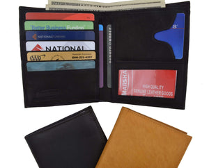 Genuine Leather Large Hipster Bifold Credit Card Id Mens Wallet 502 CF - wallets for men's at mens wallet