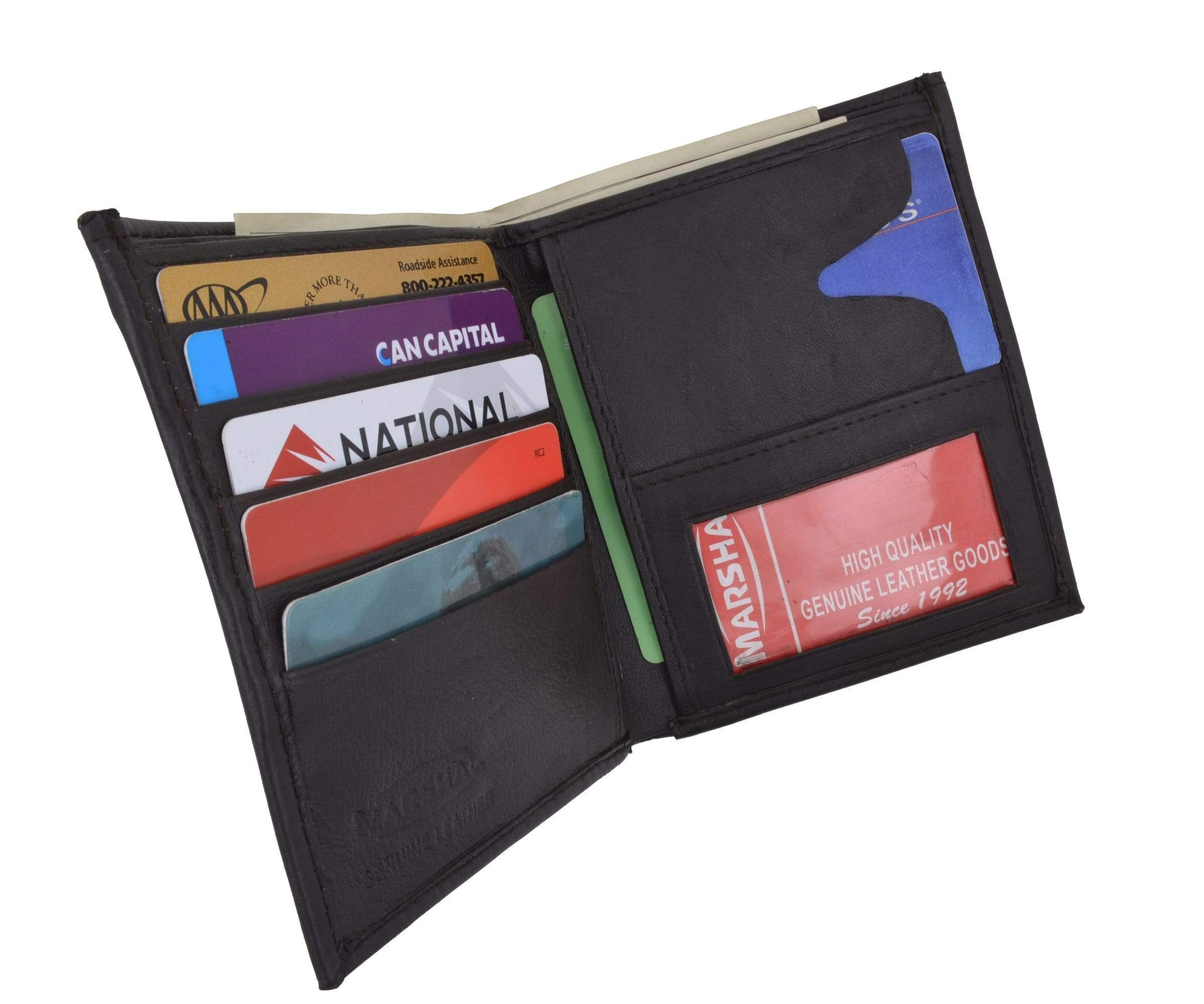 Men/'s Genuine Leather Bifold Wallet Slim Hipster Cowhide Credit Card and ID New