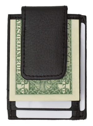 Marshal Clothing, Shoes & Accessories Black Genuine leather magnetic money clip with credit card and ID holder