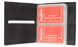 Marshal Clothing, Shoes & Accessories Black Genuine Leather Medium Bifold Credit Card Business Card Holder 2570 CF (C)