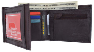 Genuine Leather Mens Bifold Wallet with Change Pocket 1692 - wallets for men's at mens wallet