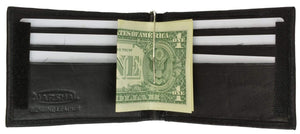 Marshal Clothing, Shoes & Accessories Black Genuine Leather Mens Cash Clip Wallet with ID Window 1562 (C)