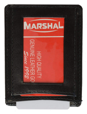 Marshal Clothing, Shoes & Accessories Black Genuine Leather Mens Money Clip w/ID Holder 262 (C)