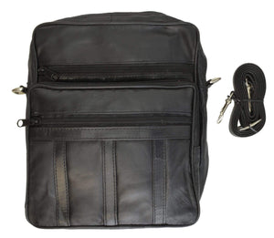 Marshal Clothing, Shoes & Accessories Black Genuine Leather Mens Pouch Multiple Zipper Pockets w/Strap 109 (C)