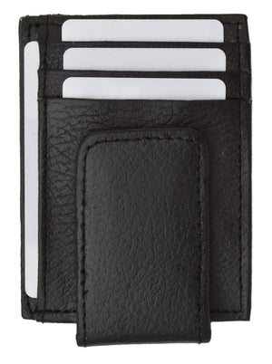 Marshal Clothing, Shoes & Accessories Black Genuine Leather Money Clip front pocket wallet with magnet clip and card ID Case 910E CF (C)