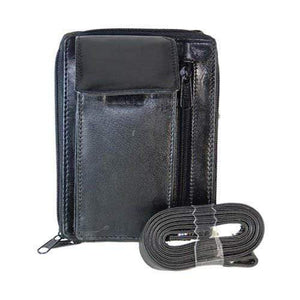 Black Genuine Leather Shoulder Strap Card Holder Organizer with Cellphone Pocket 1118 (C) - wallets for men's at mens wallet