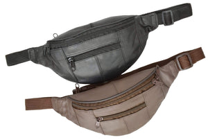 Genuine Leather Slim Waist Pack Pouch with Zippered Pockets 007 (C) - wallets for men's at mens wallet