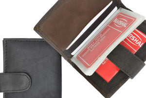 Genuine Leather Snap Closure Mens Small Wallet Card Case 570 CF (C) - wallets for men's at mens wallet