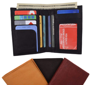 Genuine Leather Tall Bifold Card ID Holder Wallet 739 CF - wallets for men's at mens wallet