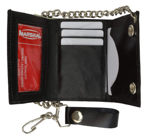 BLACK GENUINE LEATHER Trifold Biker's Wallet ID Card Holder w/ Chain 946-22 (C) - wallets for men's at mens wallet