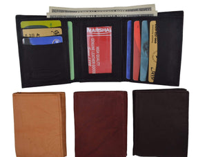 Genuine Leather Trifold ID Credit Card Holder Wallet Mens 3555 CF - wallets for men's at mens wallet