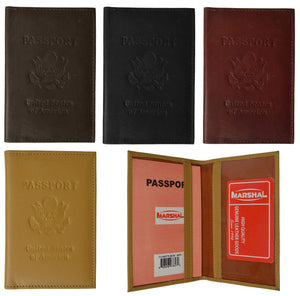 Marshal Clothing, Shoes & Accessories Black Genuine Leather USA Passport Cover, Holder and Case for International Travel 151 CF USA BLIND (C)