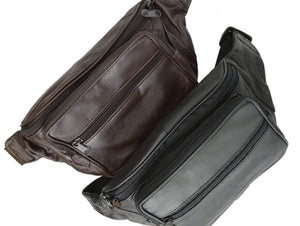 Genuine Leather Waist Fanny Pack Belt Bag Pouch Travel Hip Purse Men Women 005 (C) - menswallet