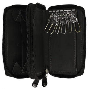 Genuine Leather Zipper Key Chain Holder Wallet 212 CF (C) - wallets for men's at mens wallet