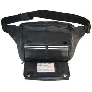 Genuine Leather Zippered Fanny Pack Card Holder 031 (C) - wallets for men's at mens wallet