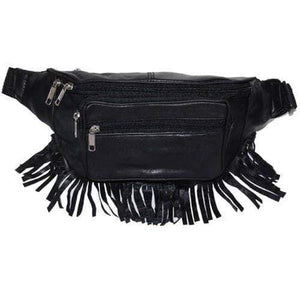 Black Genuine Leather Zippered Pockets Waist Fanny Pack 605 (C) - wallets for men's at mens wallet