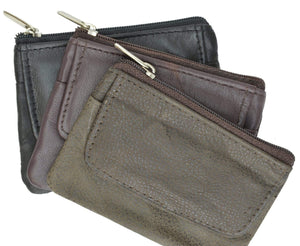 Genuine Soft Leather Change Purse with Zipped Closure and Keyring 955 (C) - wallets for men's at mens wallet