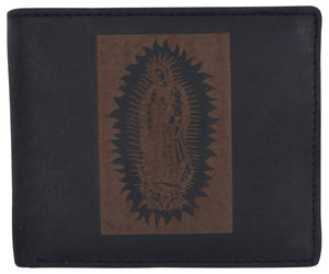 Guadalupe Virgin Logo RFID Genuine Leather Mens Bifold Wallet - wallets for men's at mens wallet