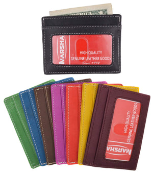 Handmade Genuine Leather Unisex Slim Super Thin Card Holder With ID Card Window 270 - menswallet