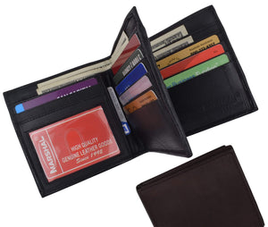 Hipster Genuine Leather Bifold Middle ID Flap Wallet 1501 - wallets for men's at mens wallet