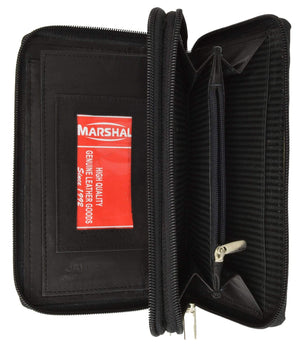 Marshal Clothing, Shoes & Accessories Black Ladies Checkbook Organizer Genuine Leather Zip Around Clutch Wallet 4575 CF (C)