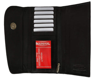 Marshal Clothing, Shoes & Accessories Black Ladies Checkbook Style Leather Wallet Purse Clutch 2575 CF (C)