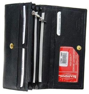 Marshal Clothing, Shoes & Accessories Black Ladies Leather Credit Card ID Holder Organizer Wallet Snap Closure 1547 CF (C)