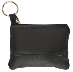 Marshal Clothing, Shoes & Accessories Black Ladies Small Genuine Leather Change Coin Purse with Key Ring