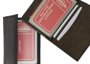 Marshal Clothing, Shoes & Accessories Black Lamb Leather Bifold Plastic Credit Card Inserts Holder 1570 (C)