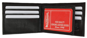 Marshal Clothing, Shoes & Accessories Black Lambskin Leather Mens Wallet with Center Flap and ID Window 1152