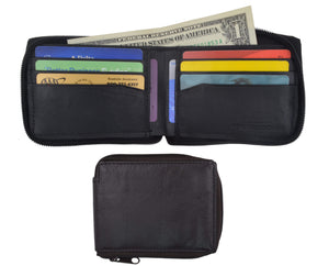 Lambskin Leather Zip Around W/Outside ID Bifold Wallet 1574 - wallets for men's at mens wallet
