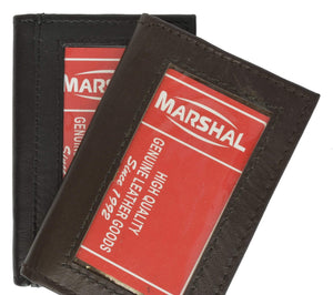Marshal Clothing, Shoes & Accessories Black Lambskin Soft Leather Credit Card Holder with ID window for Men 155 (C)