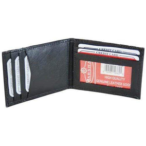Marshal Clothing, Shoes & Accessories Black Leather Bifold Money Clip Mens Credit Card ID Holder Wallet 362 (C)