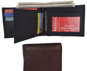 Leather Bifold Removable Middle Flap ID Card Holder Wallet 1142 - wallets for men's at mens wallet