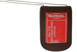 Marshal Clothing, Shoes & Accessories Black Leather ID & Badge Holder with Chain 2561 (C)