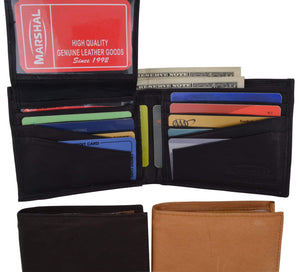 Leather Men Bifold Wallet Removable ID Case Hidden Compartment 589 CF - wallets for men's at mens wallet