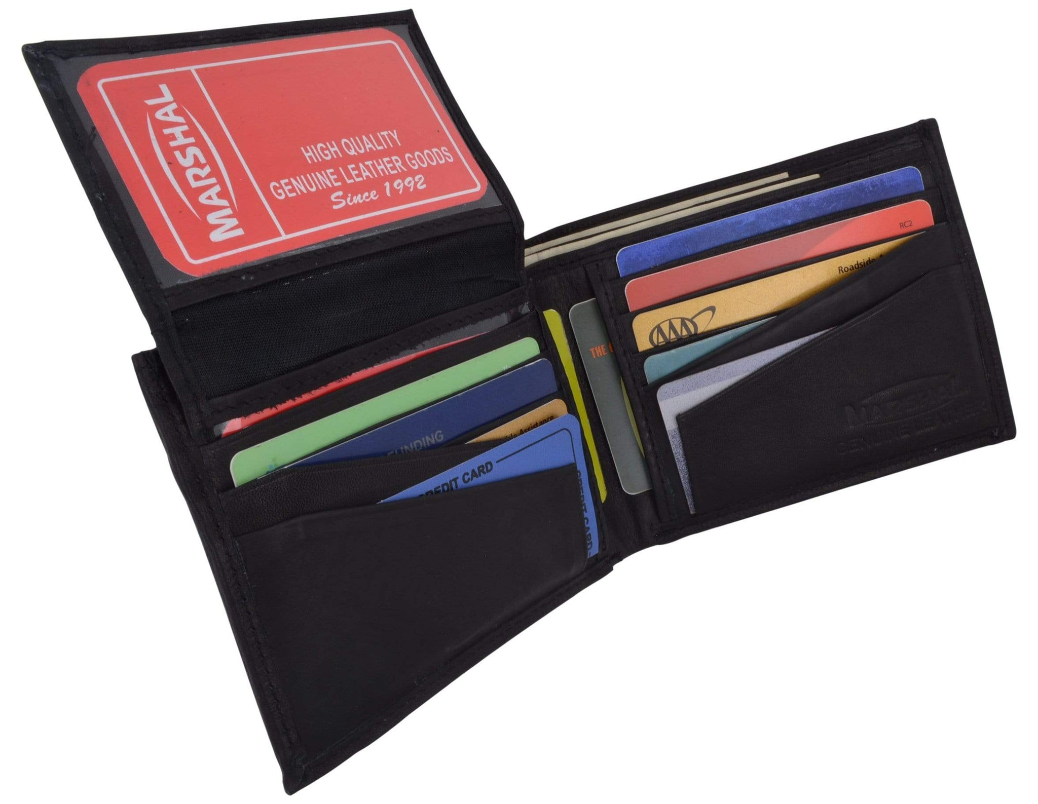 Men/'s Wallet Genuine Soft Lambskin Leather Removable 2 ID Card Case Marshal®