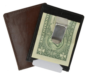Marshal Clothing, Shoes & Accessories Black Leather Slim Money Clip Wallet with Credit Card /ID Slot 162 (C)